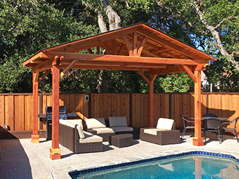 Construction Heart redwood is used in a poolside pergola.