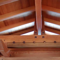 Redwood beams, timbers and rafters