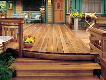 This handsome deck was built with B Grade redwood decking.
