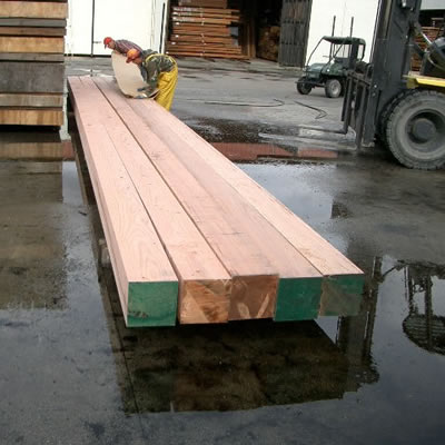 Redwood beams at Redwood Lumber & Supply Company Mill.