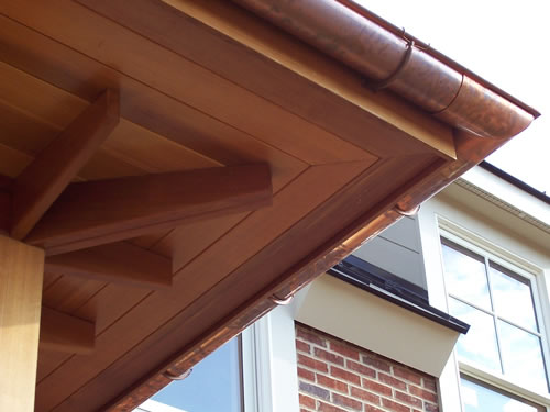 Redwood beams used to support redwood soffit