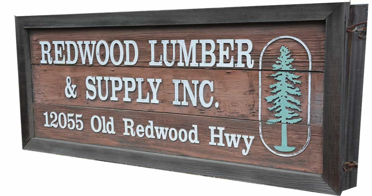 The Redwood Lumber & Supply Company sign that greets you when you enter a facilities in Healdsburg, California.
