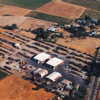 An aerial view of Redwood Lumber and Supply Copmany's the 20 acre manufacturing facility in Healdsburg, California.
